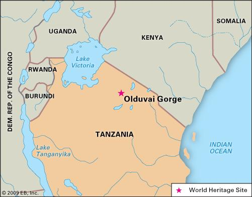 africa map olduvai gorge