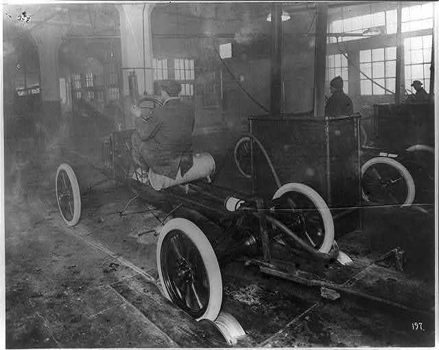 Model T's coming off the assembly line at the Highland Park plant