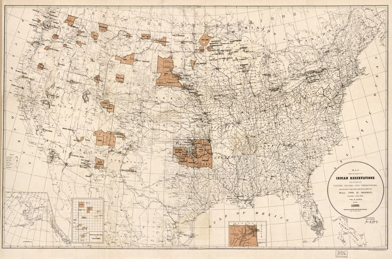 Map of Indian Reservations in 1888