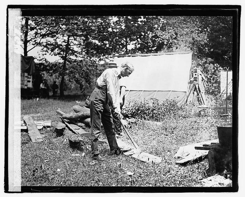 Henry Ford chopping wood