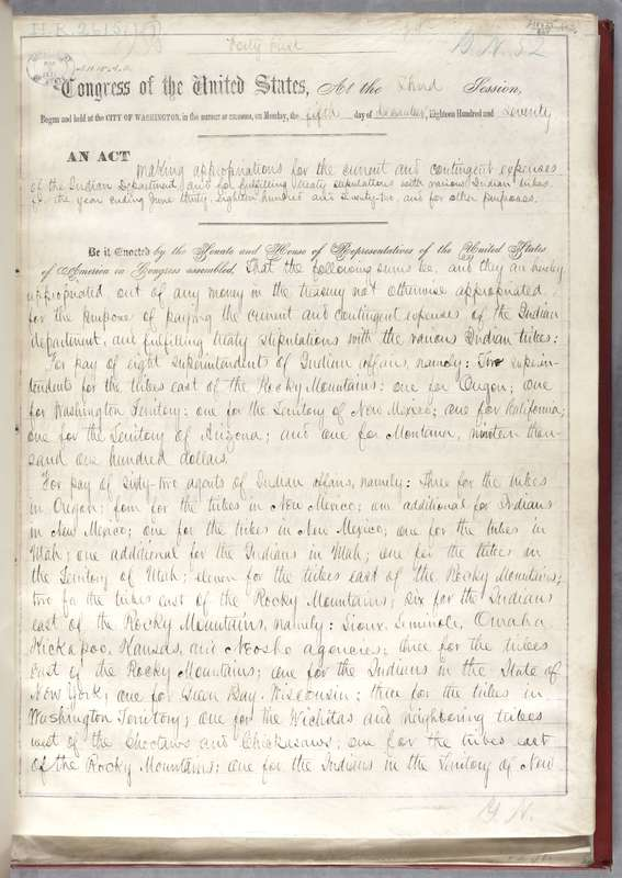 1871 Rider to Indian Appropriations Act