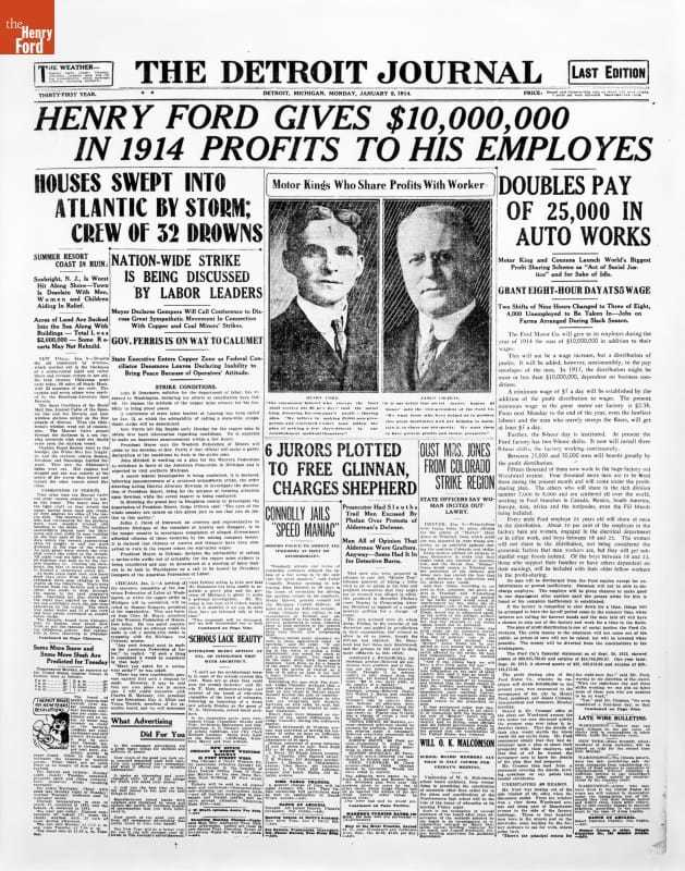 """Newspaper Article, """"Henry Ford Gives $10,000,000 in 1914 Profits to His Employes"""""""