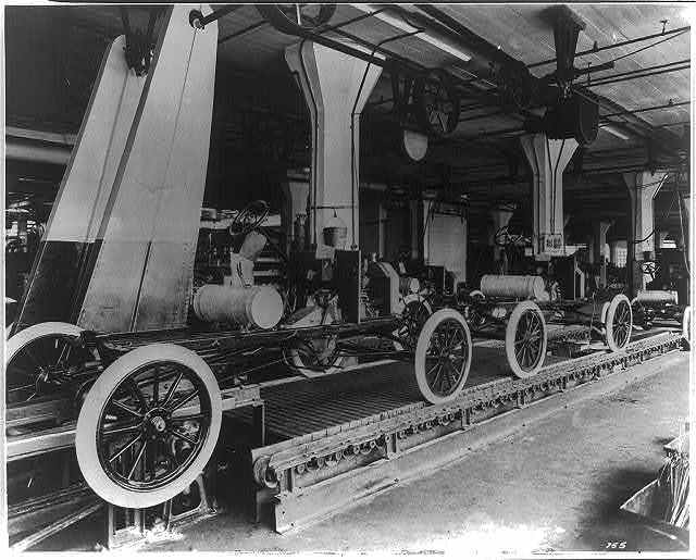 Assembly line at the Ford Motor Company's Highland Park plant