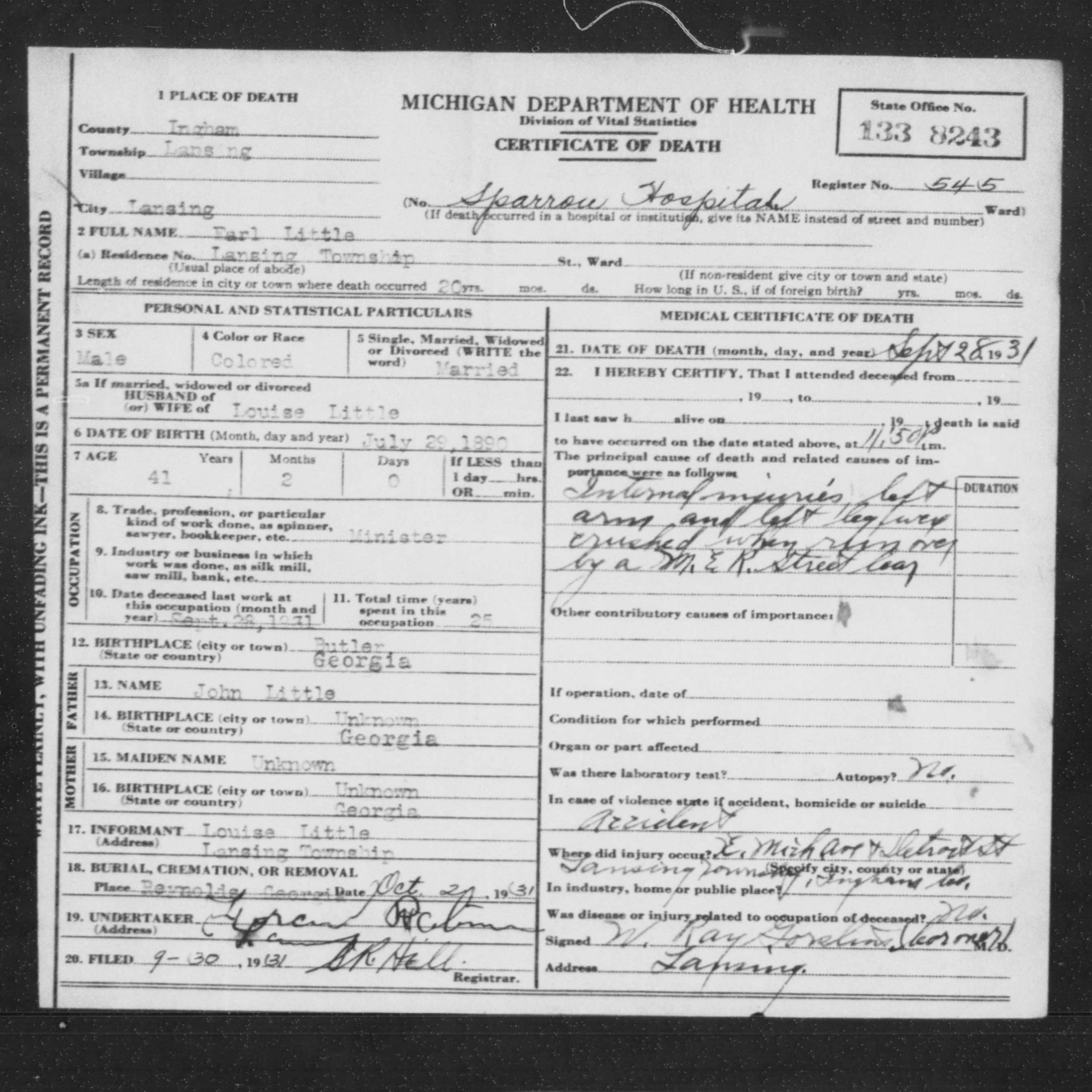 Earl littles death e michigan ave and detroit st malcolm x earl littles death certificate aiddatafo Choice Image