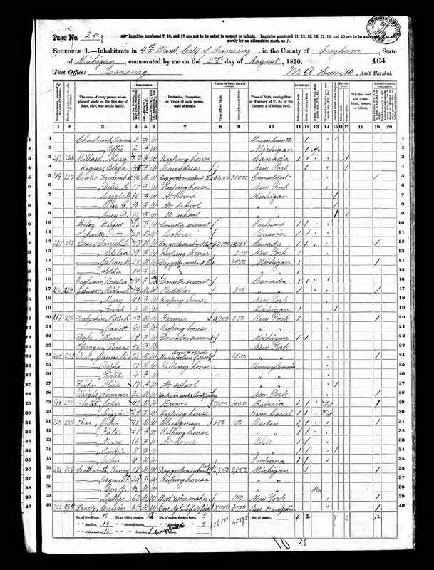 Alice Jenison 1870 Census