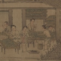Women_placing_silkworms_on_trays_together_with_mulberry_leaves_(Sericulture_by_Liang_Kai,_1200s).jpg