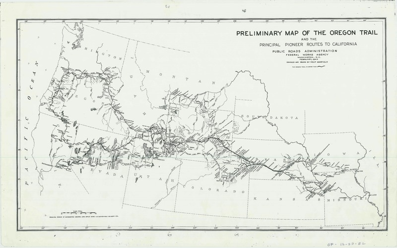 Map Of California To Oregon.Preliminary Map Of The Oregon Trail And The Principle Pioneer Routes