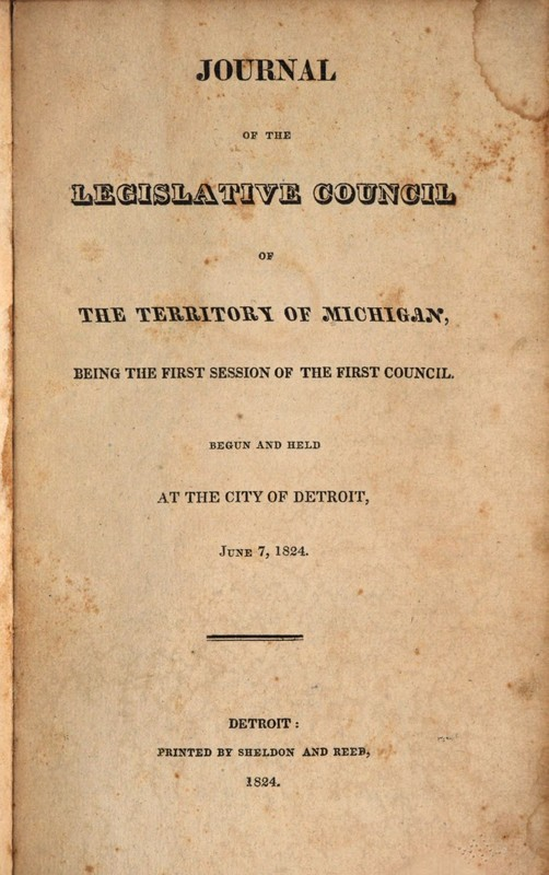 Journal of the Legislative Council of the Territory of Michigan, 1824.