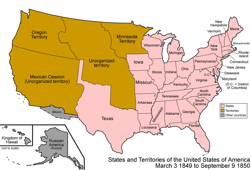 Conclusion The Idea And Fulfillment Of Manifest Destiny Union To - Us-map-before-mexican-american-war
