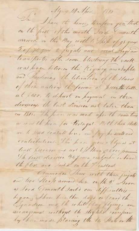 Letter from William Shaler to William Eustis discussing Peace