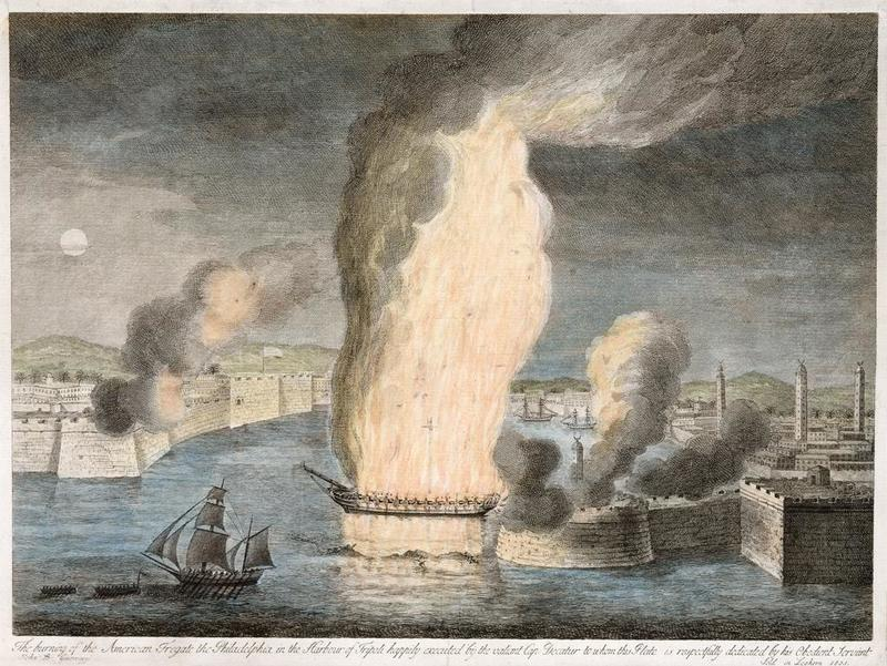 The Burning of the American Fregate (sic) the Philadelphia in the Harbour of Tripoli