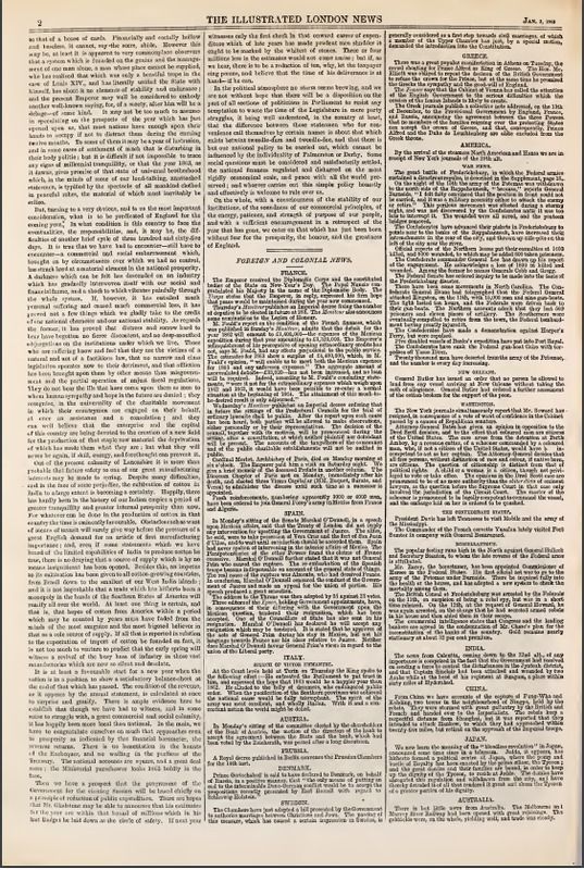 The Illustrated London News Jan 2nd 1863