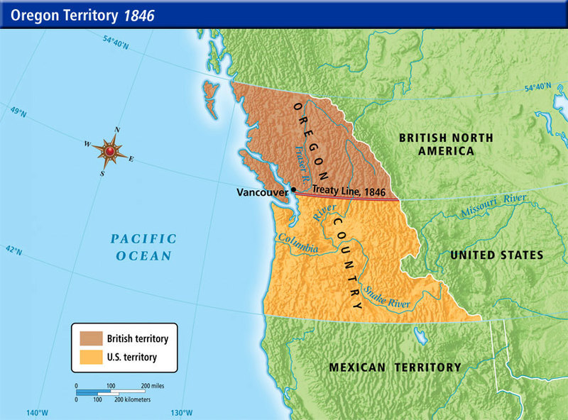 Map Of Oregon Territory After Treaty Of Oregon 1846