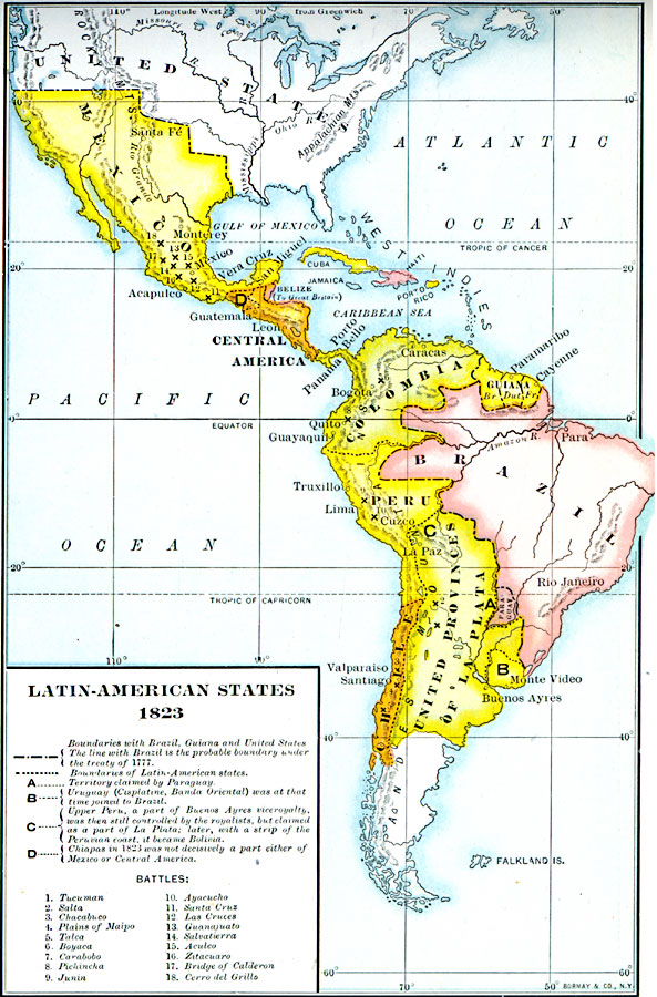 Latin American States HST US Foreign Relations To - Map of us in 1823