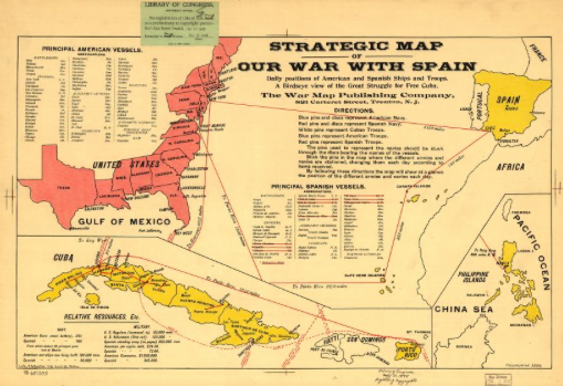 Map Of Spain And Us.Strategic Map Of Our War With Spain Hst 325 U S Foreign