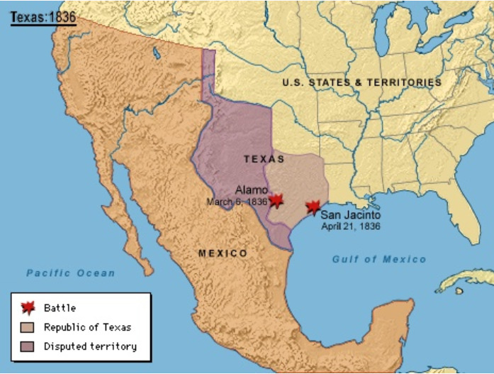 Map Of Texas In 1836.Texas Introduction Texas History From Mexican Territory To A U S