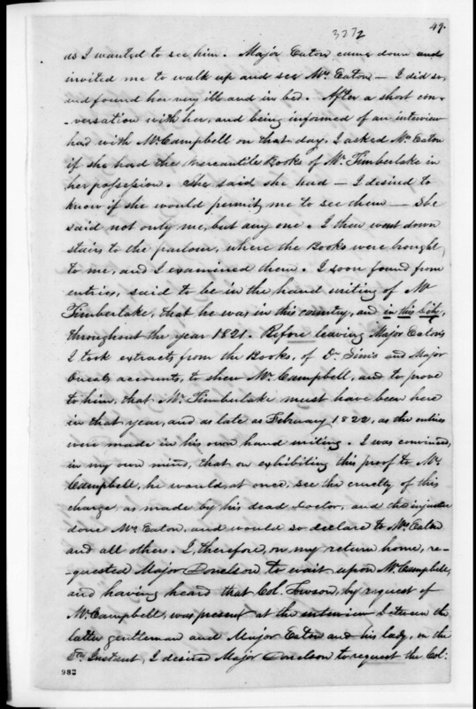 """Correspondence - Bound Volume - Letters to and from Andrew Jackson regarding Margaret """"Peggy"""" O'Neale Eaton, nee Timberlake."""