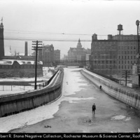 frozen canal by Rochester aqueduct